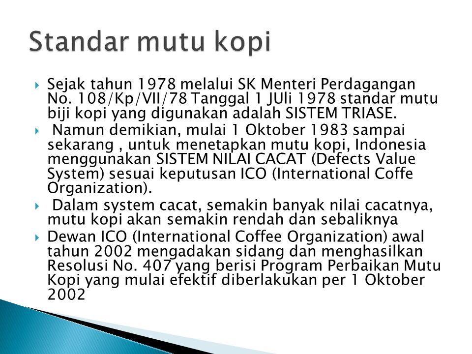  Sejak tahun 1978 melalui SK Menteri Perdagangan No.