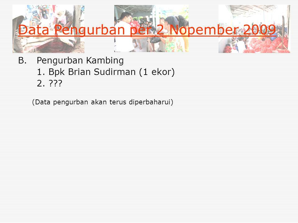 Data Pengurban per 2 Nopember 2009 B. Pengurban Kambing 1. Bpk Brian Sudirman (1 ekor) 2. ??? (Data pengurban akan terus diperbaharui)