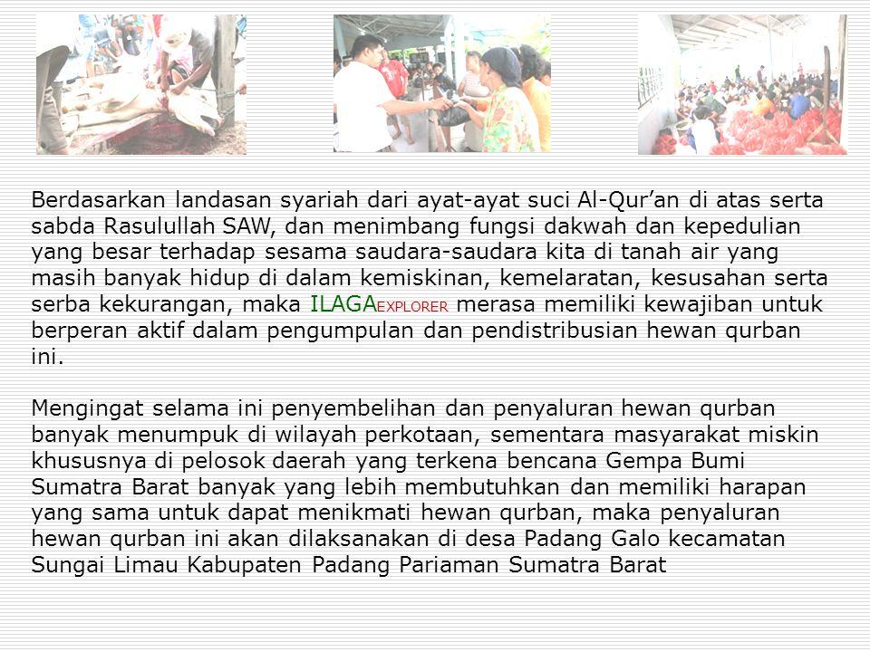 Dasar Pemikiran  Masyarakat Sumatra Barat yang sedang didera musibah dan bencana Gempa Bumi yang telah mengusik rasa persaudaraan kita untuk saling membantu  Kemiskinan dan ketidakberdayaan membayangi masa depan korban bencana  Korban bencana membutuhkan spirit dan motivasi untuk bangkit, salah satunya dengan memperlihatkan bahwa kita peduli terhadap mereka dengan jalan berbagi qurban