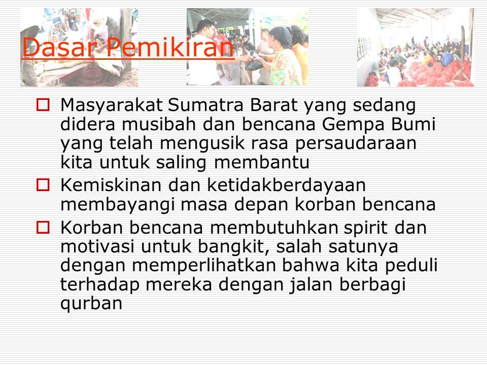 Dasar Pemikiran  Masyarakat Sumatra Barat yang sedang didera musibah dan bencana Gempa Bumi yang telah mengusik rasa persaudaraan kita untuk saling m