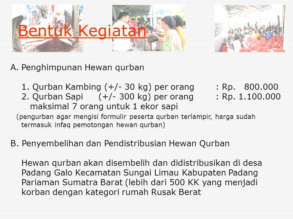 Bentuk Kegiatan A.Penghimpunan Hewan qurban 1. Qurban Kambing (+/- 30 kg) per orang: Rp. 800.000 2. Qurban Sapi (+/- 300 kg) per orang: Rp. 1.100.000