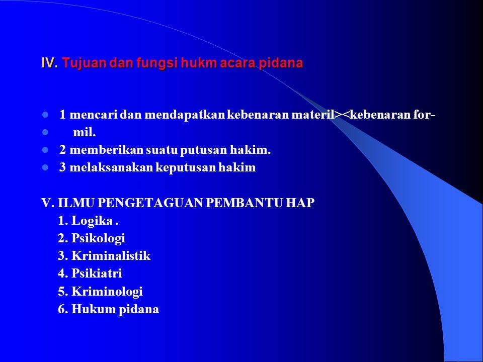 III. Pengertian hukum acara pidana Syarifuddin pettanasse :peraturan yang mengatur bgmna cara / prosedur menuntut di pengadilan thd tersangka yg tlh m