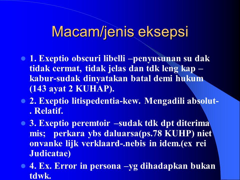 Hak tdkw : keberatan sanggahan /eksepsi sudak p.u 1. Dasar hukum : pasal 156 KUHAP. 2. Pengertian : keberatan yg diajukan tdkw thd kew.pengadilan (ps.