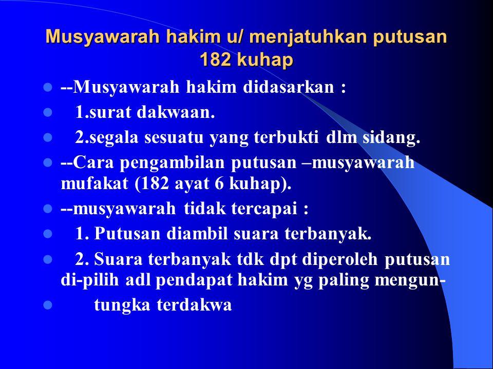 Pembelaan /pleeidoi 1. Hak tdkw u/ mengajukan pembelaan thd tuntutan J.P.U.Bisa sependapat,bisa tdk. 2. Fakta-fakta yg terungkap dipersidangan. 3. San