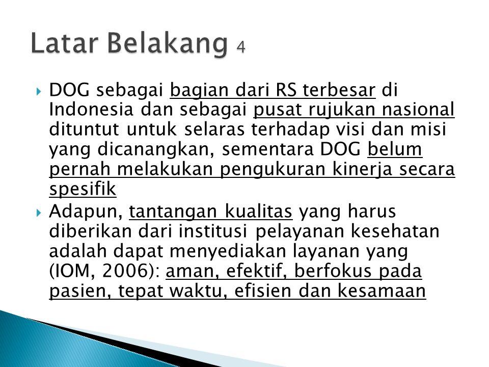  DOG sebagai bagian dari RS terbesar di Indonesia dan sebagai pusat rujukan nasional dituntut untuk selaras terhadap visi dan misi yang dicanangkan,