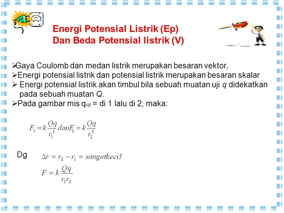 1. (a) Rapat muatan dihitung dengan : σ = =8,85 × 10 -4 cm -2 (b) Besar kuat medan E di antara kedua keping, yaitu: E = = 1,0 × 10 8 N/m 2. (a) E A =