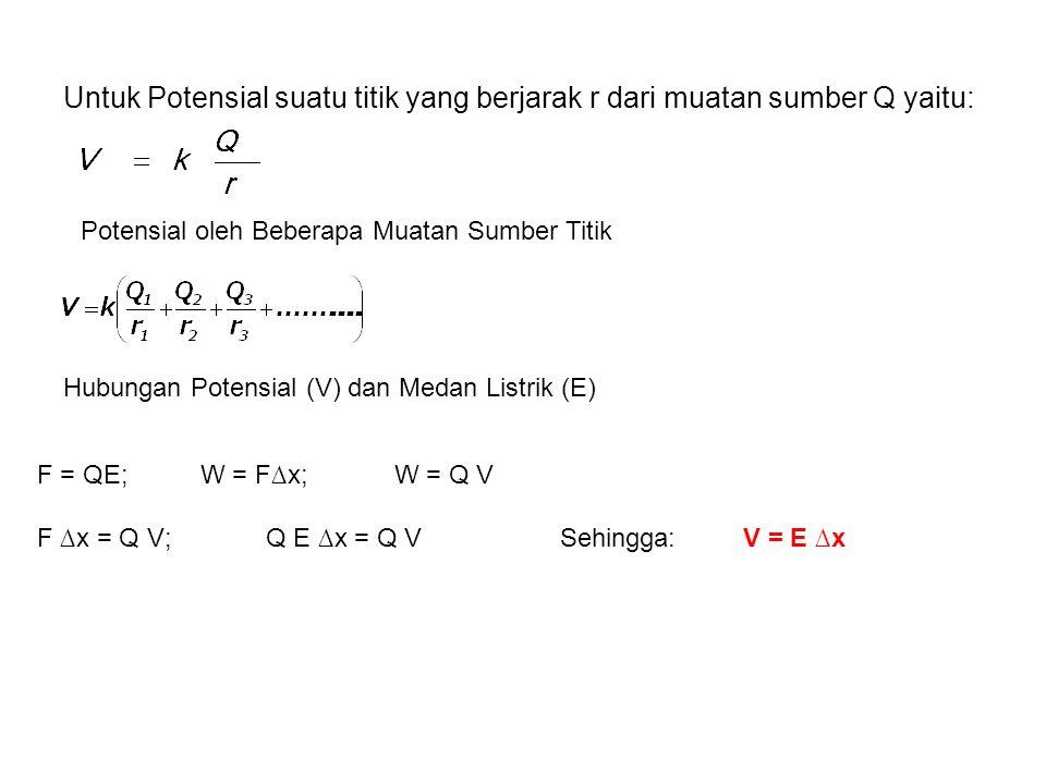 dengan : F C = gaya Coulomb Δr = perpindahan muatan Q =muatan sumber; q= muatan uji V = Potensial listrik (J/C = Volt) Catatan= tanda muatan + atau –