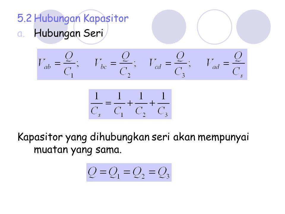 b.Hubungan Paralel Kapasitor yang dihubungkan paralel, tegangan antara ujung2 kapasitor adalah sama, sebesar V.