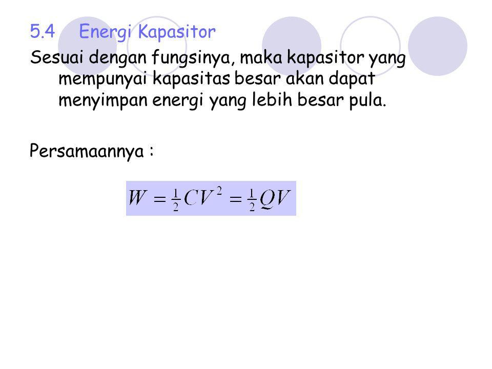 Contoh : 1.Tentukan kapasitas kapasitor yang mempunyai luas keping 1 cm 2 dan jarak antara kepingnya 0,2 cm, bila muatan masing2 keping sebesar 5 μC dan ε 0 = 8,85 x 10 -12 C 2 /Nm 2 dan diantara medium ada bahan dengan konstanta dielektrik 2.