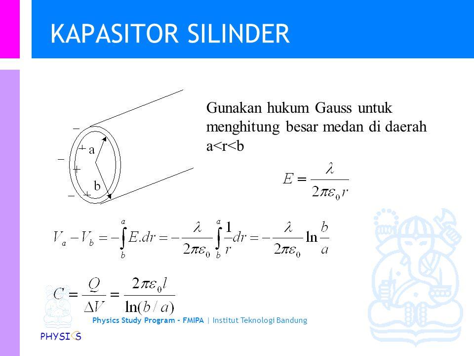 Physics Study Program - FMIPA | Institut Teknologi Bandung PHYSI S KAPASITOR KEPING Gunakan hukum Gauss untuk menghitung besar medan di ruang antar keping