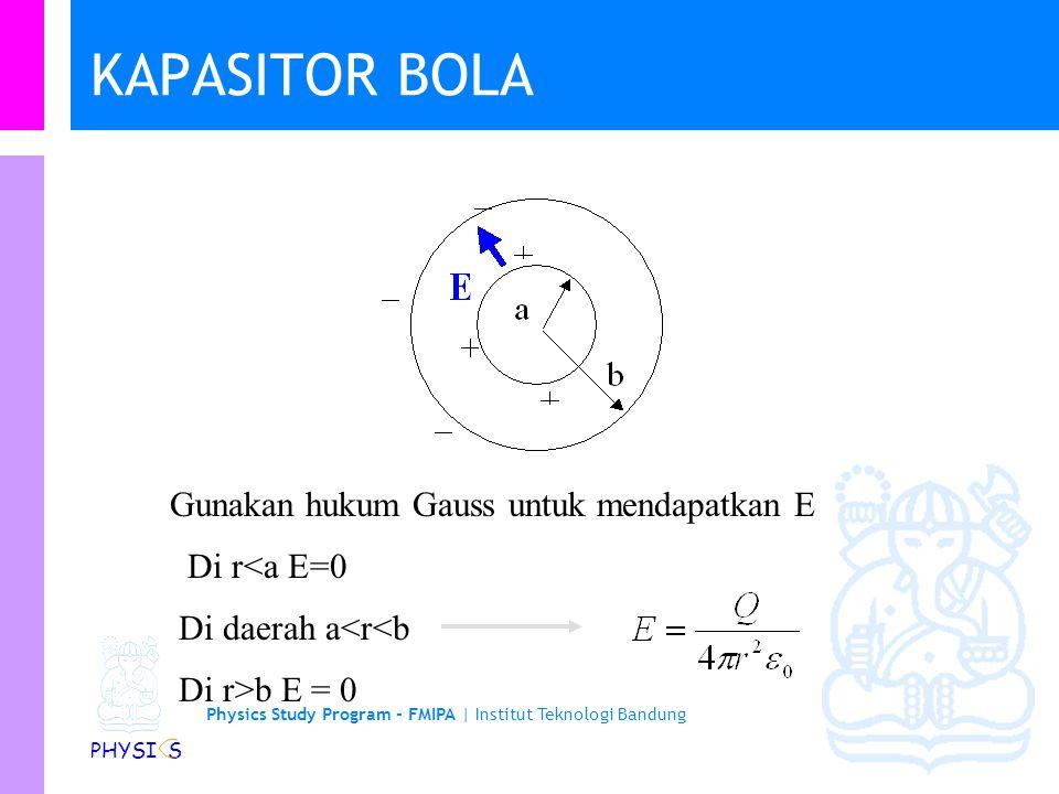 Physics Study Program - FMIPA | Institut Teknologi Bandung PHYSI S KAPASITOR BOLA Gunakan hukum Gauss untuk mendapatkan E Di r<a E=0 Di daerah a<r<b Di r>b E = 0