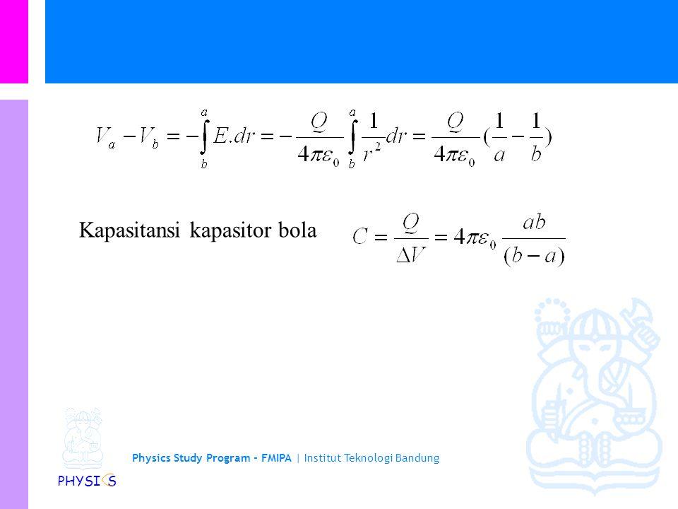 Physics Study Program - FMIPA | Institut Teknologi Bandung PHYSI S Kapasitansi kapasitor bola