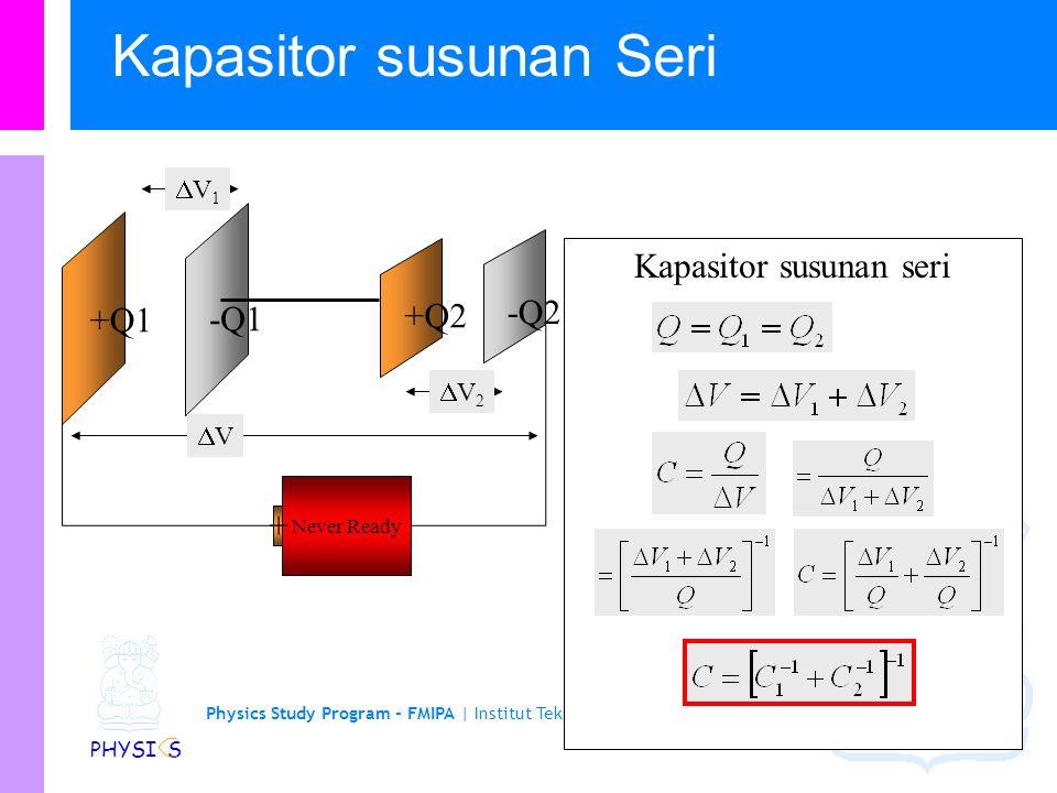 Physics Study Program - FMIPA | Institut Teknologi Bandung PHYSI S Kapasitor susunan Seri +Q1 -Q1 Kapasitor susunan seri Never Ready + +Q2 -Q2 V1V1 V2V2 VV