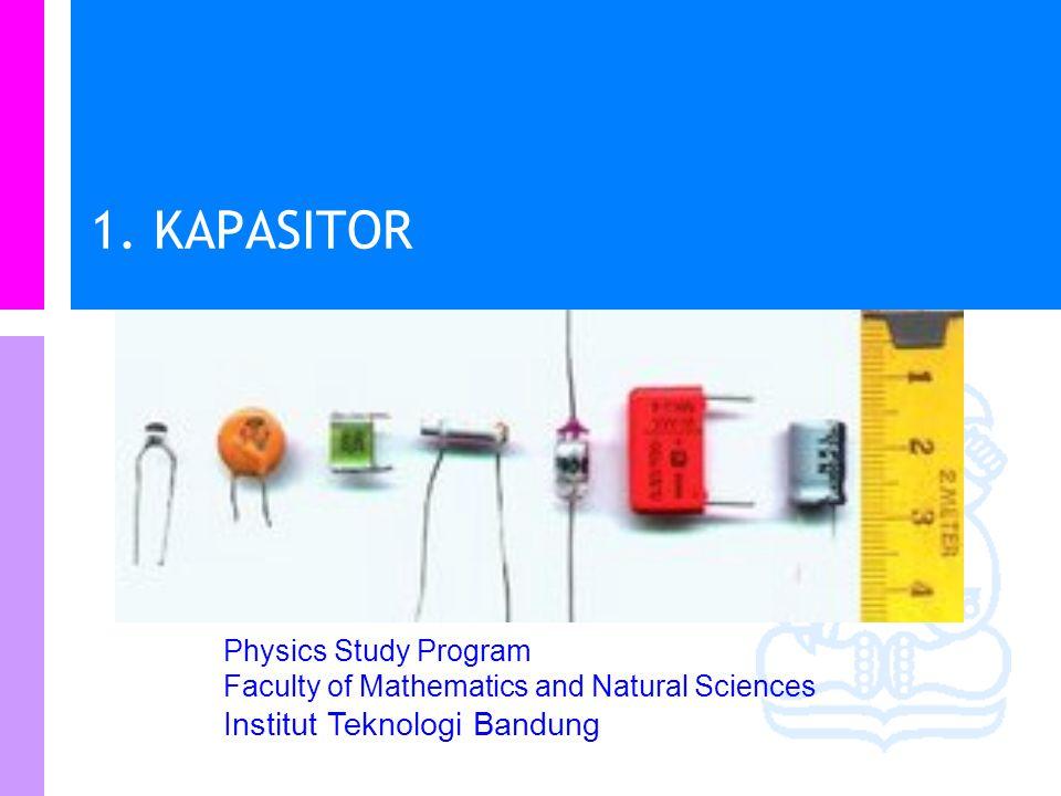 Physics Study Program - FMIPA | Institut Teknologi Bandung PHYSI S Cakupan materi Kapasitor Kapasitansi Menghitung kapasitansi Energi dalam kapasitor Energi dalam medan listrik Dielektrik