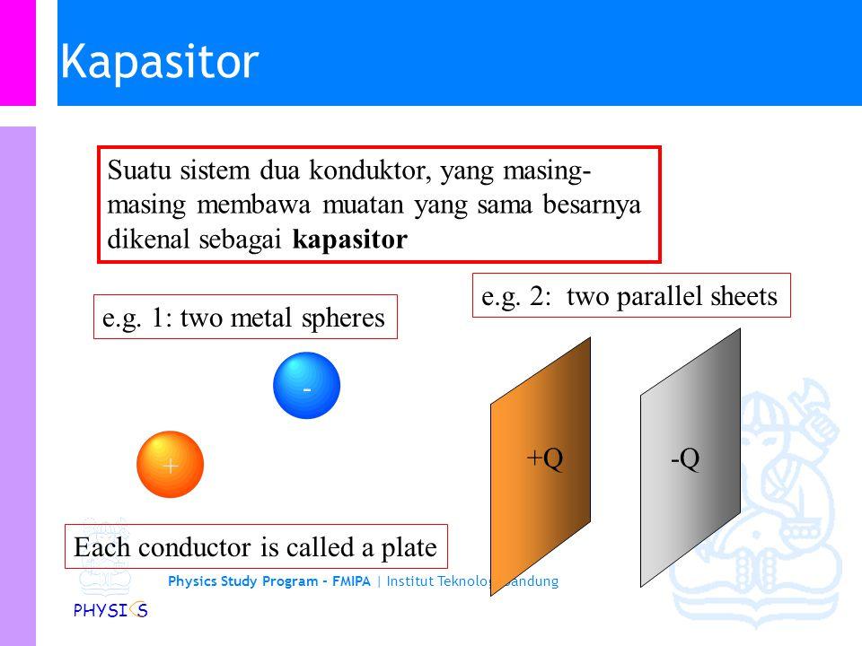 Physics Study Program - FMIPA | Institut Teknologi Bandung PHYSI S KAPASITOR Kapasitor terdiri dari susunan konduktor yang dapat menyimpan muatan / medan / energi potensial listrik.
