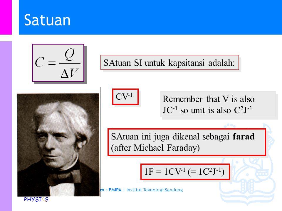 Physics Study Program - FMIPA | Institut Teknologi Bandung PHYSI S We can write that as Kapasitansi Kapasistansi besaran untuk mengukur jumlah muatana yang tersimpan dalam kapasitor (its capacity ) Eskperimen menunjukkan bahwa muatan dalam kapasitor sebanding dengan beda potensial (voltage) antara dua lempeng Konstanta pembanding C disebut kapasitansi yang merupakan sifat dari kapasitor Dividing both sides by  V we see that C is given by i.e.
