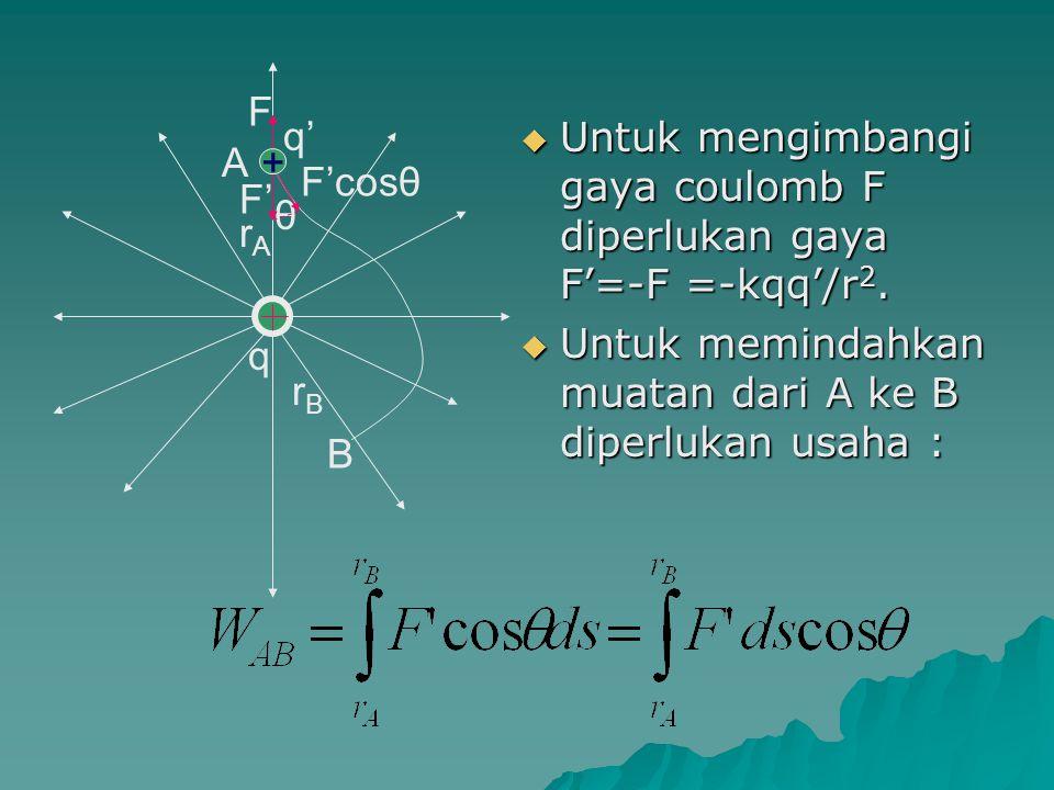 Karena W AB = Ep B – Ep A, maka : secara umum ditulis :
