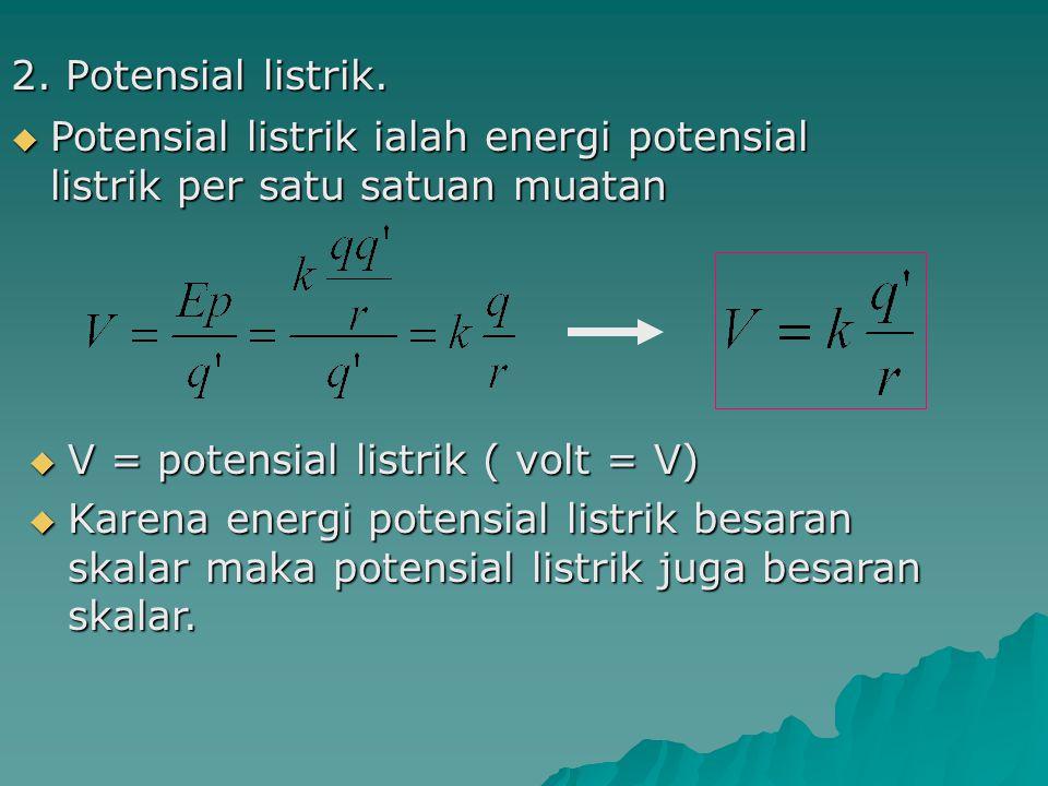 Potensial listrik akibat beberapa muatan Potensial listrik akibat beberapa muatan Potensial listrik di titik P Potensial listrik di titik P + r1r1 +q 1 +q 2 + -q 3 r2r2 r3r3 P Secara umum ditulis : Secara umum ditulis : 3.Hubungan energi potensial dan potensial listrik.