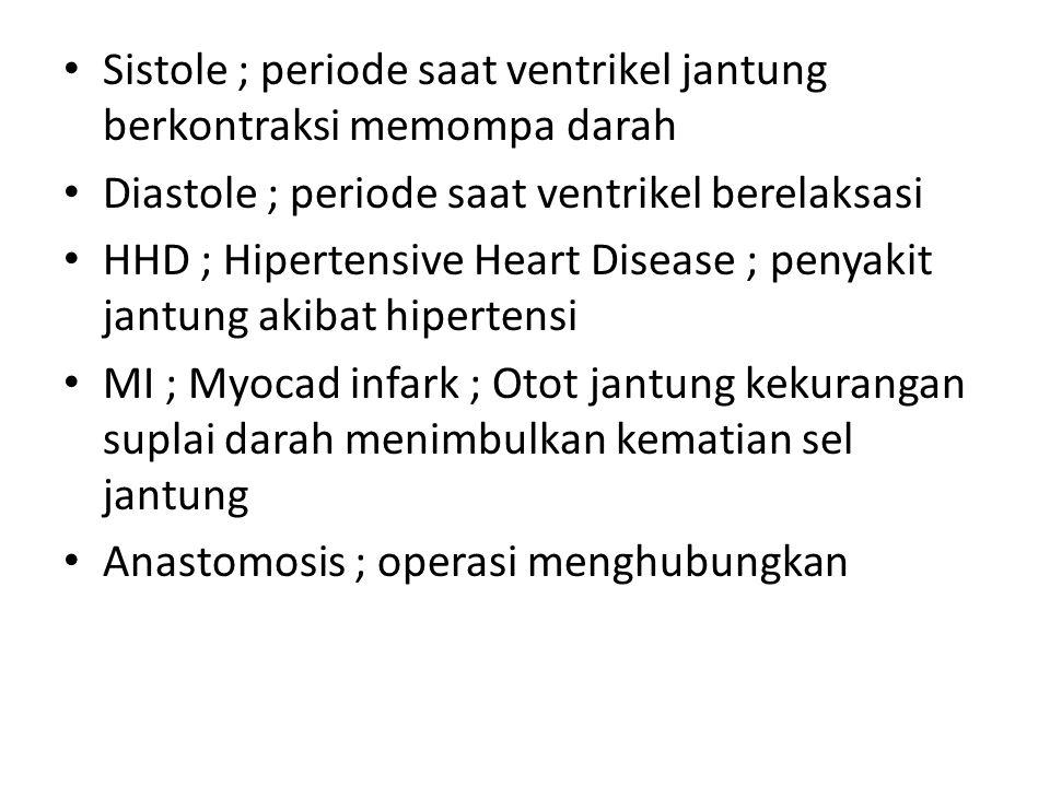 Sistole ; periode saat ventrikel jantung berkontraksi memompa darah Diastole ; periode saat ventrikel berelaksasi HHD ; Hipertensive Heart Disease ; p