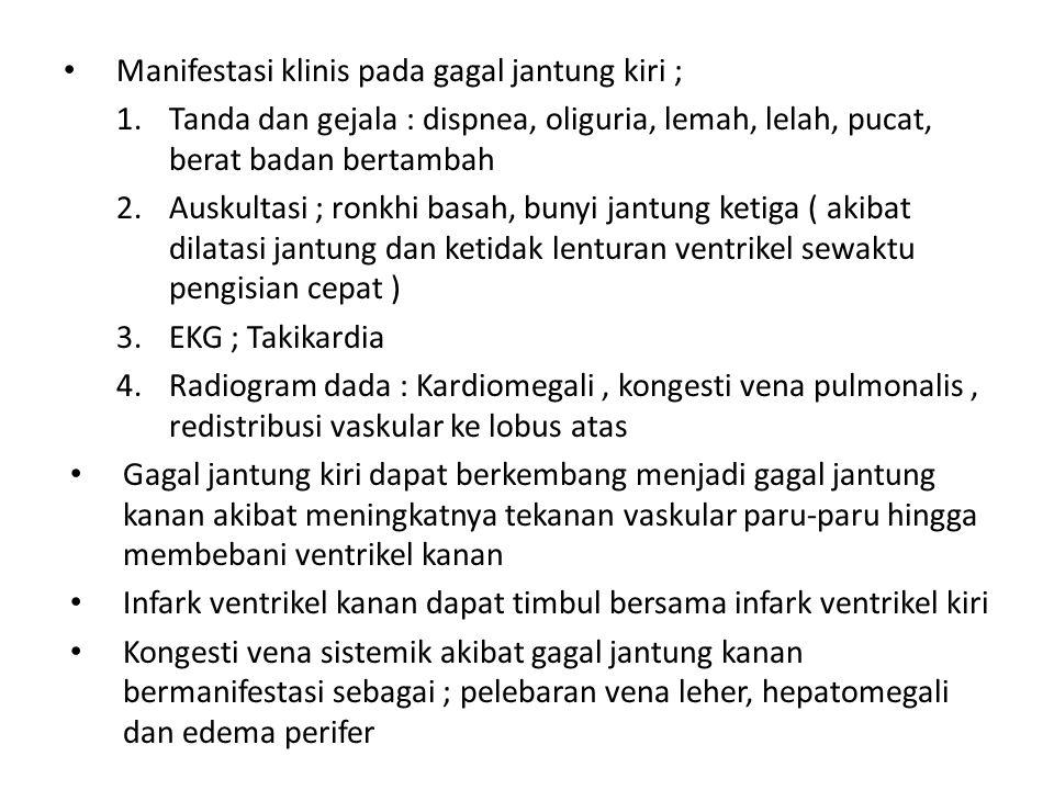 Manifestasi klinis pada gagal jantung kiri ; 1.Tanda dan gejala : dispnea, oliguria, lemah, lelah, pucat, berat badan bertambah 2.Auskultasi ; ronkhi basah, bunyi jantung ketiga ( akibat dilatasi jantung dan ketidak lenturan ventrikel sewaktu pengisian cepat ) 3.EKG ; Takikardia 4.Radiogram dada : Kardiomegali, kongesti vena pulmonalis, redistribusi vaskular ke lobus atas Gagal jantung kiri dapat berkembang menjadi gagal jantung kanan akibat meningkatnya tekanan vaskular paru-paru hingga membebani ventrikel kanan Infark ventrikel kanan dapat timbul bersama infark ventrikel kiri Kongesti vena sistemik akibat gagal jantung kanan bermanifestasi sebagai ; pelebaran vena leher, hepatomegali dan edema perifer
