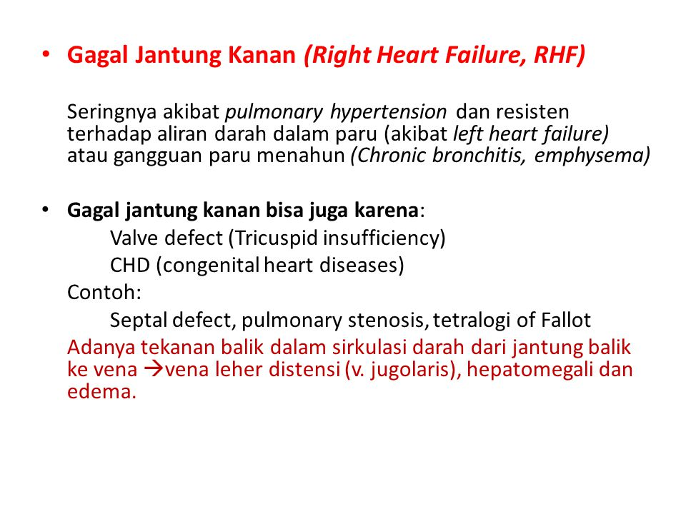 Gagal Jantung Kanan (Right Heart Failure, RHF) Seringnya akibat pulmonary hypertension dan resisten terhadap aliran darah dalam paru (akibat left heart failure) atau gangguan paru menahun (Chronic bronchitis, emphysema) Gagal jantung kanan bisa juga karena: Valve defect (Tricuspid insufficiency) CHD (congenital heart diseases) Contoh: Septal defect, pulmonary stenosis, tetralogi of Fallot Adanya tekanan balik dalam sirkulasi darah dari jantung balik ke vena  vena leher distensi (v.