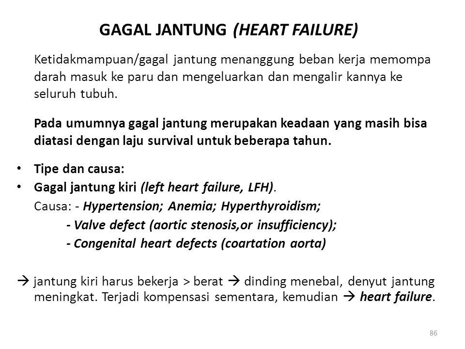 86 GAGAL JANTUNG (HEART FAILURE) Ketidakmampuan/gagal jantung menanggung beban kerja memompa darah masuk ke paru dan mengeluarkan dan mengalir kannya ke seluruh tubuh.