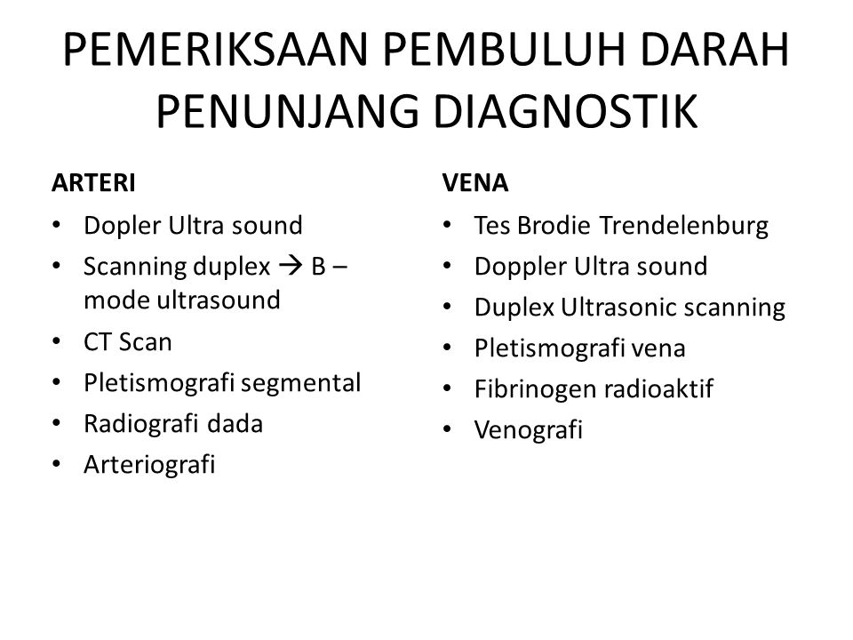 PEMERIKSAAN PEMBULUH DARAH PENUNJANG DIAGNOSTIK ARTERI Dopler Ultra sound Scanning duplex  B – mode ultrasound CT Scan Pletismografi segmental Radiog