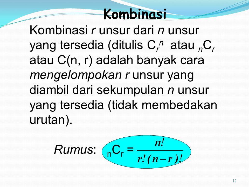 12 Kombinasi Kombinasi r unsur dari n unsur yang tersedia (ditulis C r n atau n C r atau C(n, r) adalah banyak cara mengelompokan r unsur yang diambil