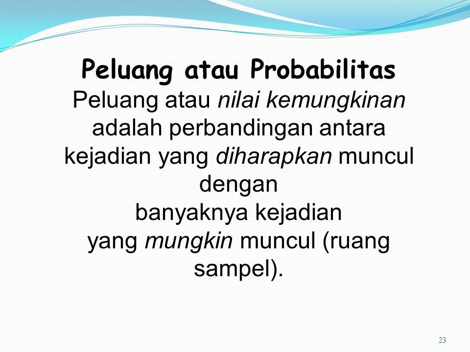 23 Peluang atau Probabilitas Peluang atau nilai kemungkinan adalah perbandingan antara kejadian yang diharapkan muncul dengan banyaknya kejadian yang