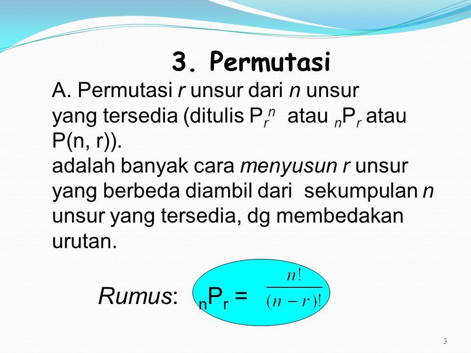 3 3. Permutasi A. Permutasi r unsur dari n unsur yang tersedia (ditulis P r n atau n P r atau P(n, r)). adalah banyak cara menyusun r unsur yang berbe