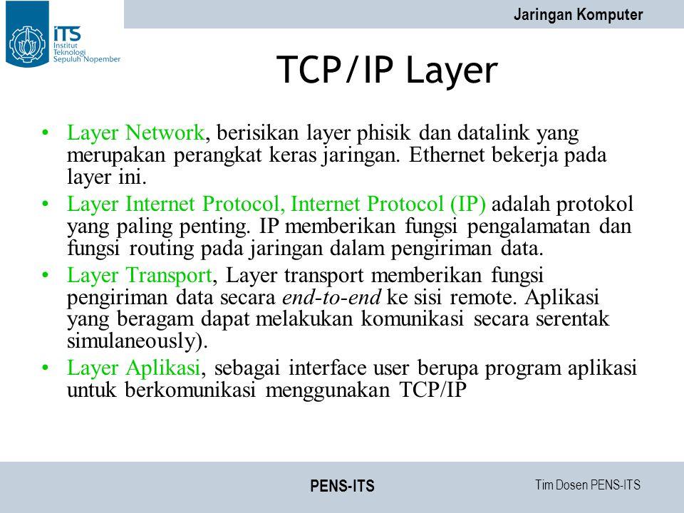 Tim Dosen PENS-ITS Jaringan Komputer PENS-ITS TCP/IP Layer Layer Network, berisikan layer phisik dan datalink yang merupakan perangkat keras jaringan.