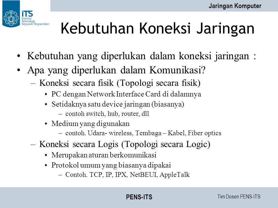 Tim Dosen PENS-ITS Jaringan Komputer PENS-ITS Kebutuhan Koneksi Jaringan Kebutuhan yang diperlukan dalam koneksi jaringan : Apa yang diperlukan dalam Komunikasi.
