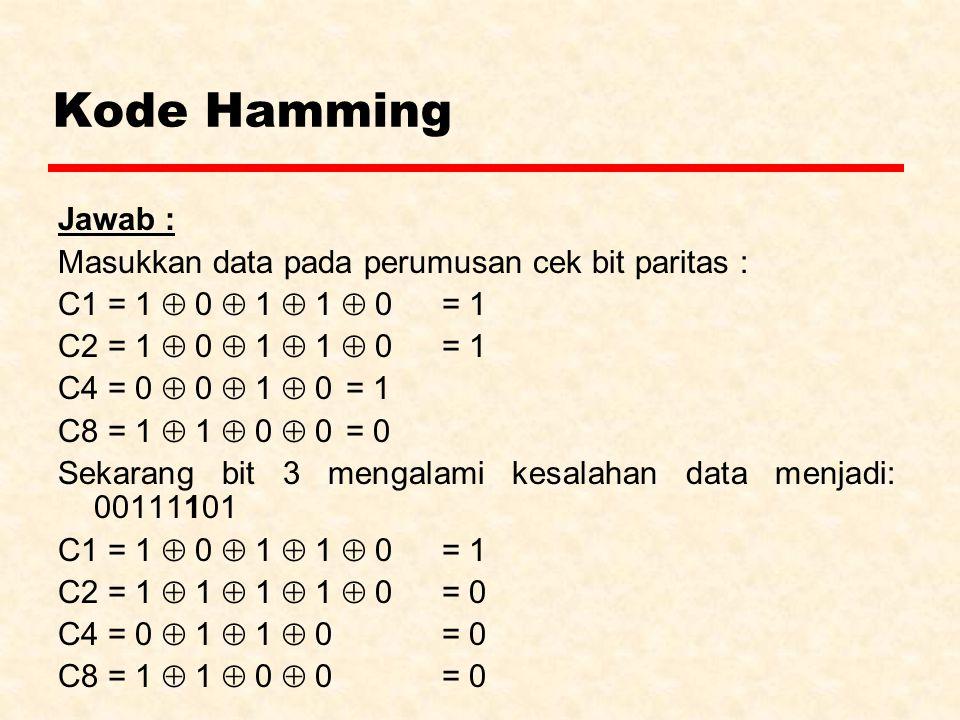 Kode Hamming Jawab : Masukkan data pada perumusan cek bit paritas : C1 = 1  0  1  1  0 = 1 C2 = 1  0  1  1  0 = 1 C4 = 0  0  1  0 = 1 C8 = 1  1  0  0 = 0 Sekarang bit 3 mengalami kesalahan data menjadi: 00111101 C1 = 1  0  1  1  0 = 1 C2 = 1  1  1  1  0 = 0 C4 = 0  1  1  0 = 0 C8 = 1  1  0  0 = 0