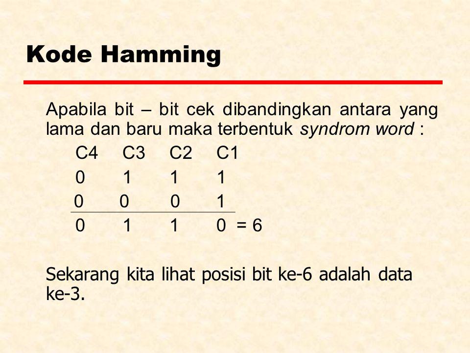 Kode Hamming Apabila bit – bit cek dibandingkan antara yang lama dan baru maka terbentuk syndrom word : C4C3C2 C1 0111 0 0 0 1 0 110 = 6 Sekarang kita lihat posisi bit ke-6 adalah data ke-3.