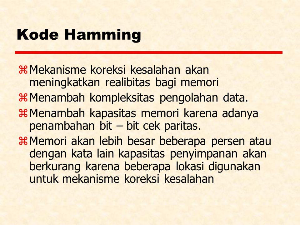 Kode Hamming z Mekanisme koreksi kesalahan akan meningkatkan realibitas bagi memori z Menambah kompleksitas pengolahan data.