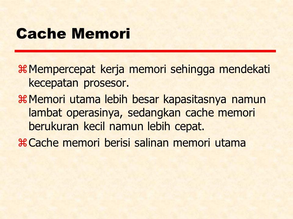 Cache Memori z Mempercepat kerja memori sehingga mendekati kecepatan prosesor. z Memori utama lebih besar kapasitasnya namun lambat operasinya, sedang