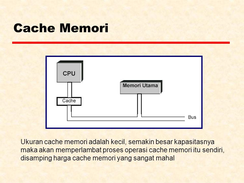 Cache Memori Ukuran cache memori adalah kecil, semakin besar kapasitasnya maka akan memperlambat proses operasi cache memori itu sendiri, disamping ha