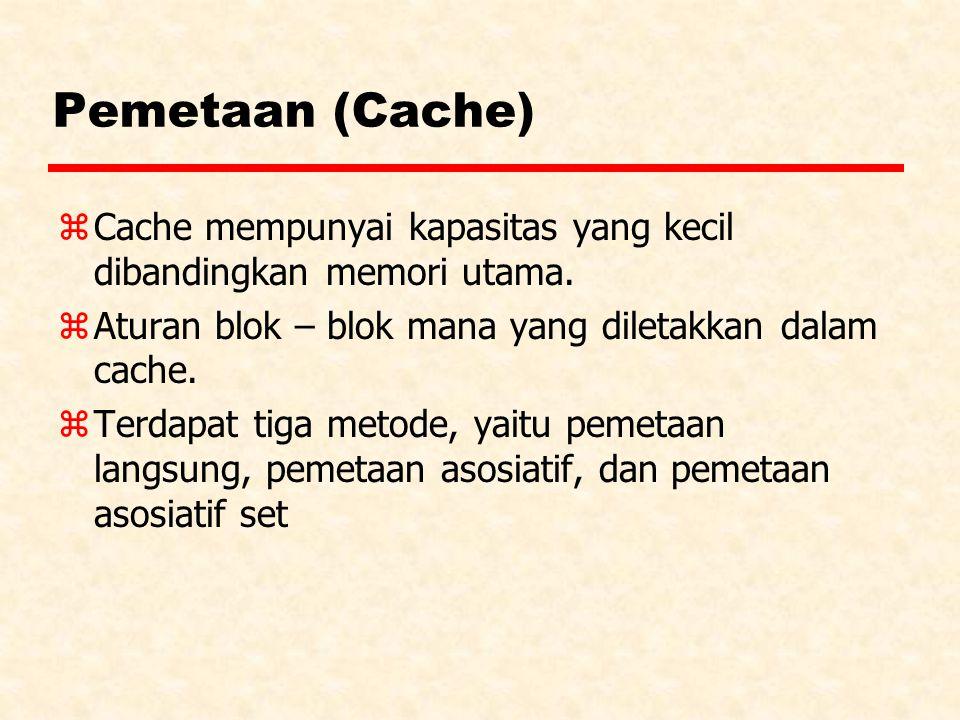 Pemetaan (Cache) z Cache mempunyai kapasitas yang kecil dibandingkan memori utama. z Aturan blok – blok mana yang diletakkan dalam cache. zTerdapat ti