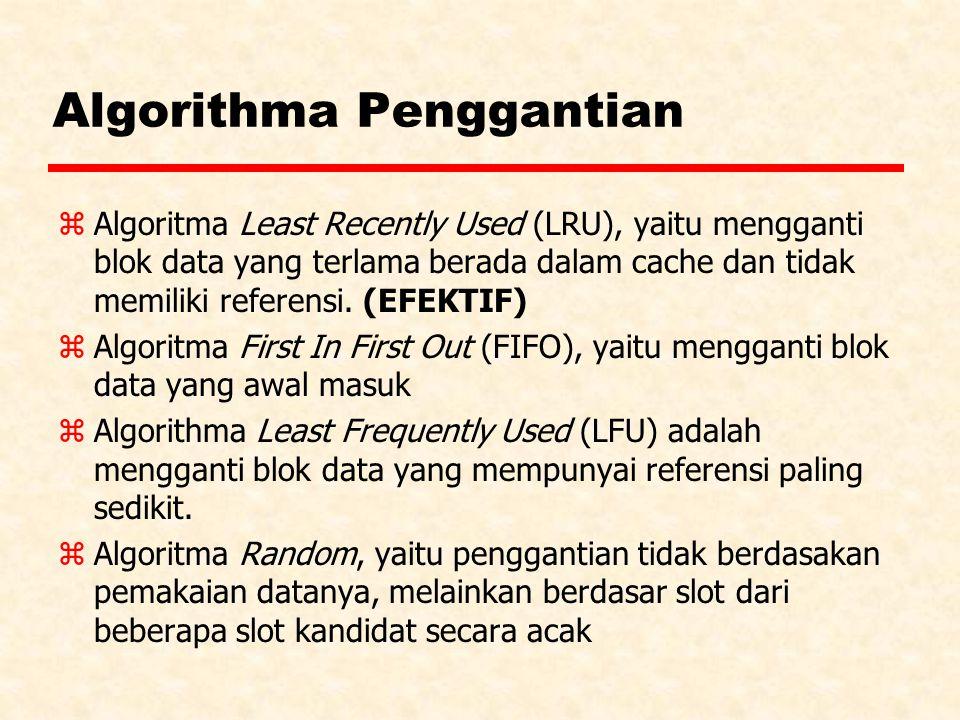 Algorithma Penggantian zAlgoritma Least Recently Used (LRU), yaitu mengganti blok data yang terlama berada dalam cache dan tidak memiliki referensi.