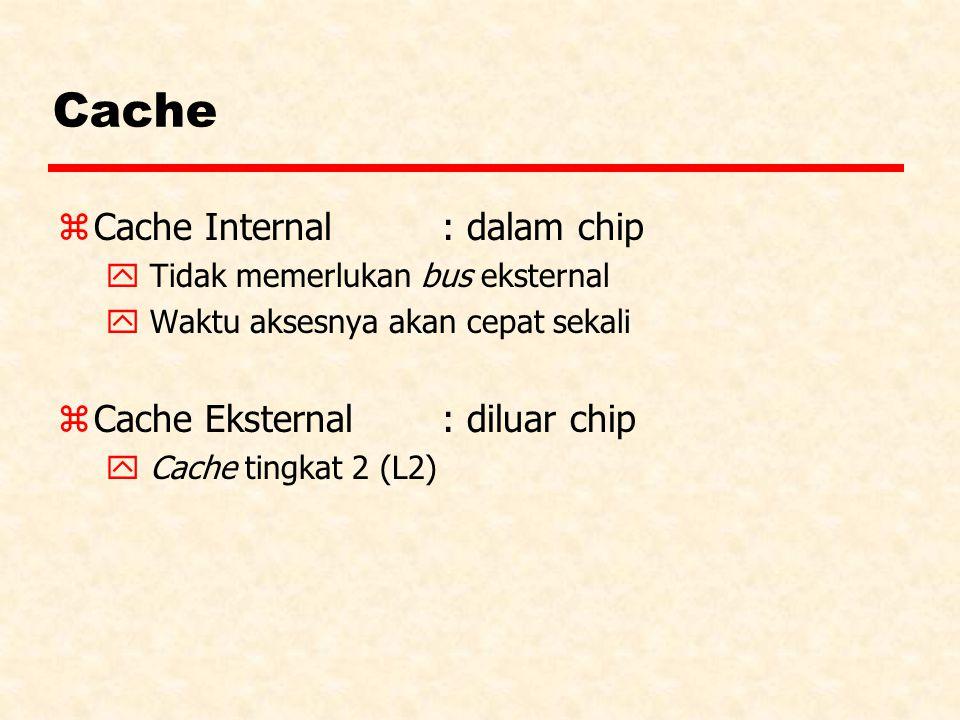 Cache zCache Internal : dalam chip y Tidak memerlukan bus eksternal y Waktu aksesnya akan cepat sekali zCache Eksternal: diluar chip y Cache tingkat 2 (L2)