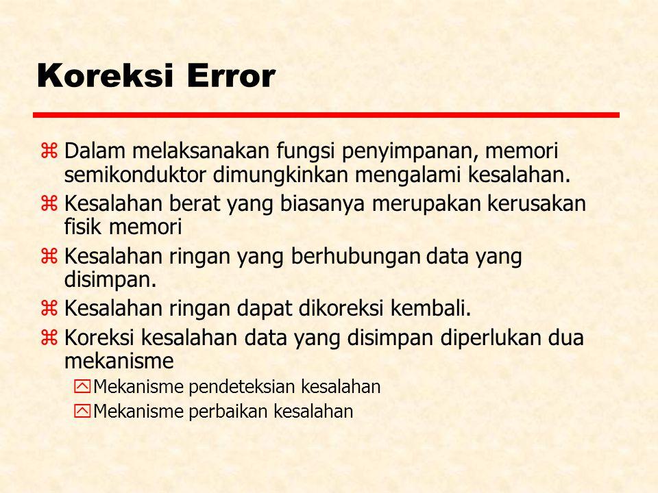 Koreksi Error z Dalam melaksanakan fungsi penyimpanan, memori semikonduktor dimungkinkan mengalami kesalahan.