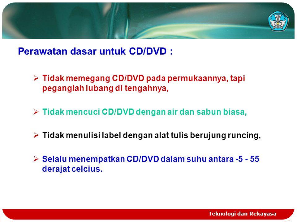 Teknologi dan Rekayasa Perawatan dasar untuk CD/DVD :  Tidak memegang CD/DVD pada permukaannya, tapi peganglah lubang di tengahnya,  Tidak mencuci C