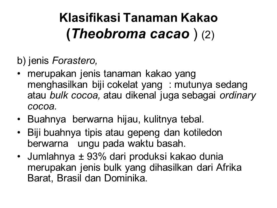 Klasifikasi Tanaman Kakao (Theobroma cacao ) (2) b) jenis Forastero, merupakan jenis tanaman kakao yang menghasilkan biji cokelat yang : mutunya sedan
