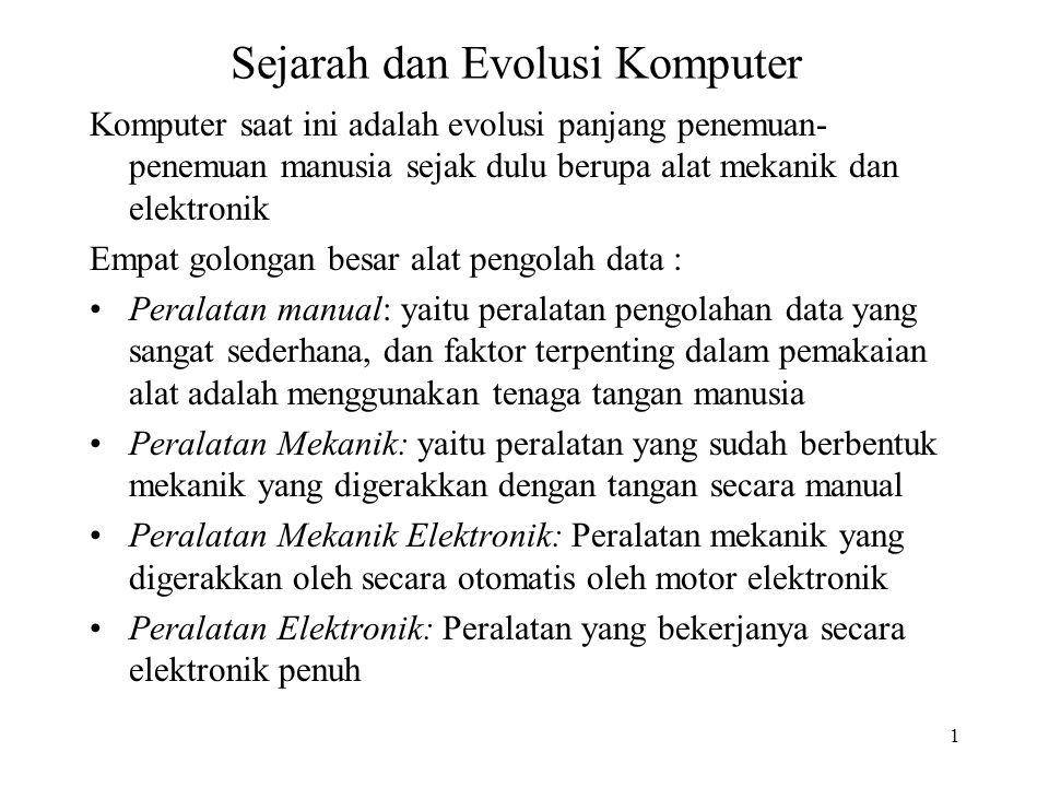 1 Sejarah dan Evolusi Komputer Komputer saat ini adalah evolusi panjang penemuan- penemuan manusia sejak dulu berupa alat mekanik dan elektronik Empat