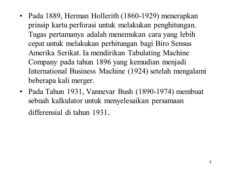 4 Pada 1889, Herman Hollerith (1860-1929) menerapkan prinsip kartu perforasi untuk melakukan penghitungan. Tugas pertamanya adalah menemukan cara yang