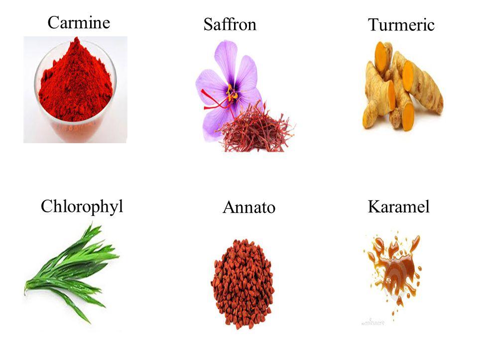 Carmine Saffron Turmeric Chlorophyl Annato Karamel