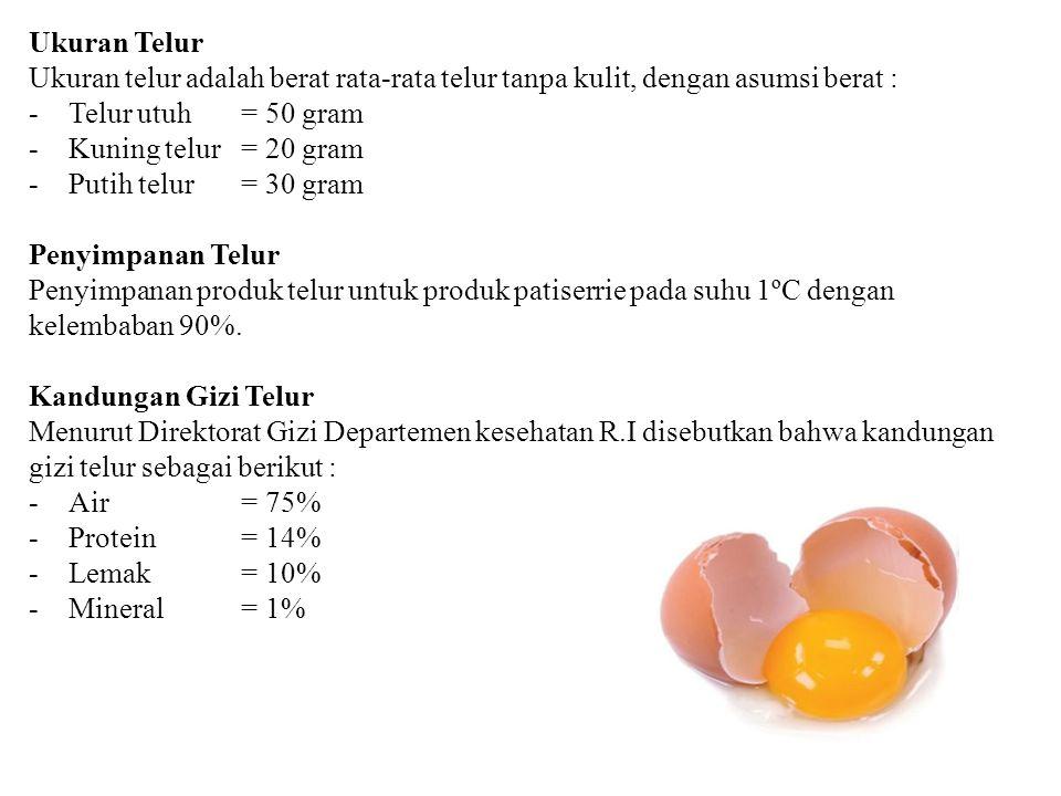 Ukuran Telur Ukuran telur adalah berat rata-rata telur tanpa kulit, dengan asumsi berat : -Telur utuh = 50 gram -Kuning telur= 20 gram -Putih telur= 3