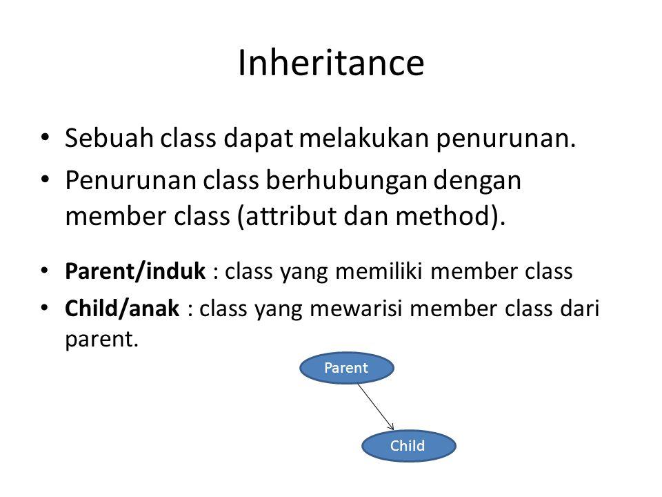 Inheritance Sebuah class dapat melakukan penurunan. Penurunan class berhubungan dengan member class (attribut dan method). Parent/induk : class yang m