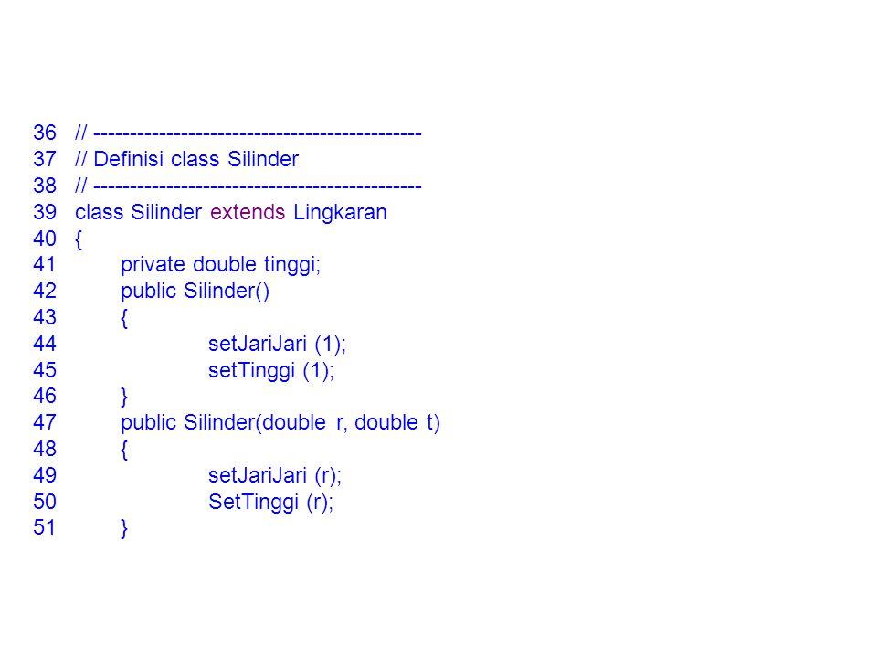 36// --------------------------------------------- 37// Definisi class Silinder 38// --------------------------------------------- 39class Silinder ex