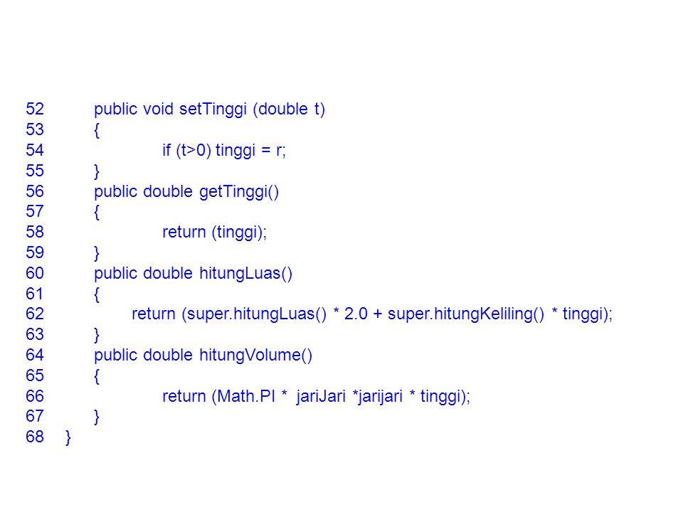 52public void setTinggi (double t) 53{ 54if (t>0) tinggi = r; 55} 56public double getTinggi() 57{ 58return (tinggi); 59} 60public double hitungLuas()